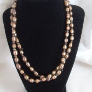 Nate & Allen Sterling Brown Baroque Pearl necklace